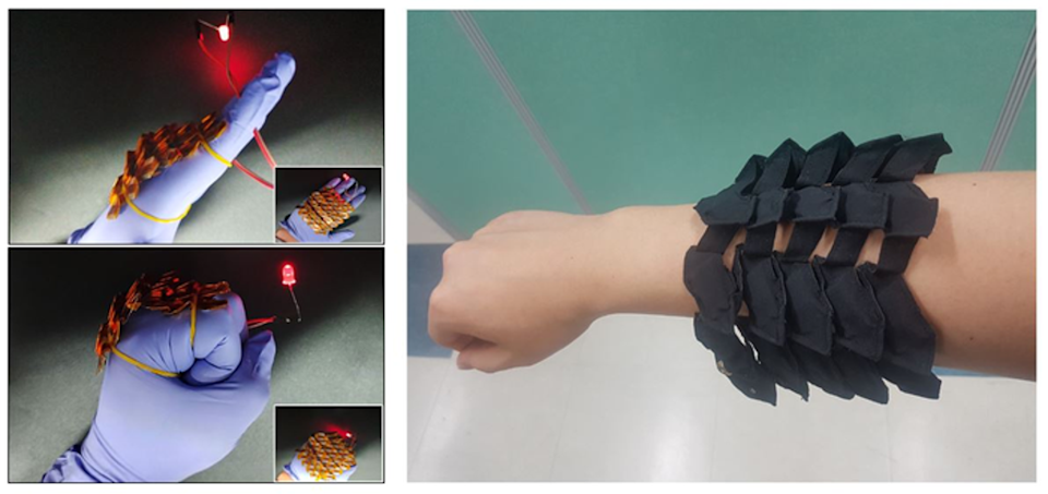 Flexible battery developed by KIMM engineers shown on an individual's arm (Korea Institute of Machinery and Materials (KIMM))
