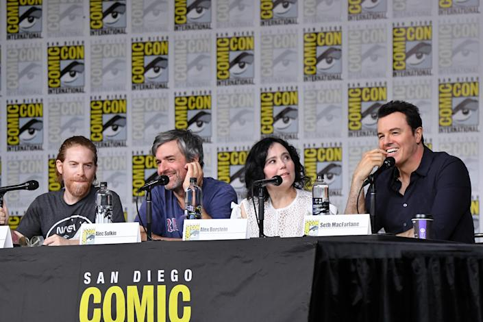 """SAN DIEGO, CA - JULY 21: (L-R) Seth Green, Alec Sulkin, Alex Borstein and Seth MacFarlane speak onstage at the """"American Dad"""" and """"Family Guy"""" Panel during Comic-Con International 2018 at San Diego Convention Center on July 21, 2018 in San Diego, California. (Photo by Mike Coppola/Getty Images)"""