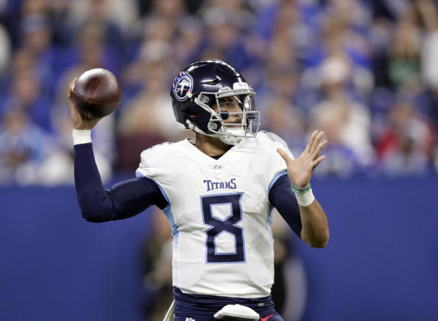 Tennessee Titans quarterback Marcus Mariota prepares to throw during the first half of an NFL football game against the Indianapolis Colts, Sunday, Nov. 18, 2018, in Indianapolis. (AP Photo/Michael Conroy)
