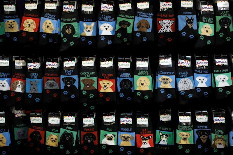 Socks are seen for sale at the Meet the Breeds event ahead of the 143rd Westminster Kennel Club Dog Show in New York, Feb. 9, 2019. (Photo: Andrew Kelly/Reuters)