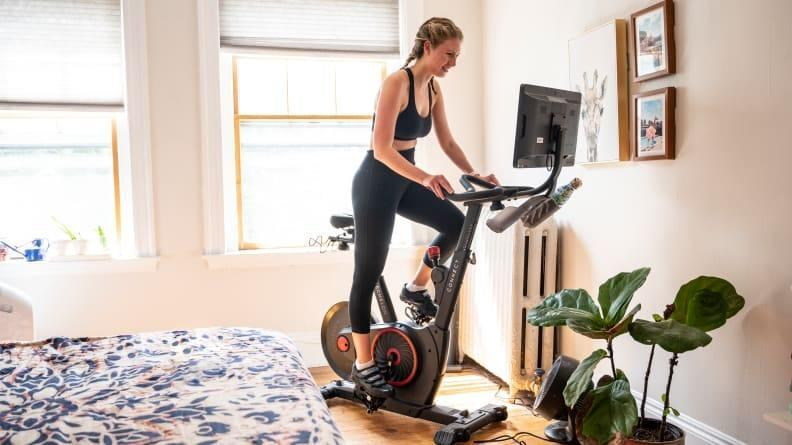 Rack up miles on an indoor cycling bike.
