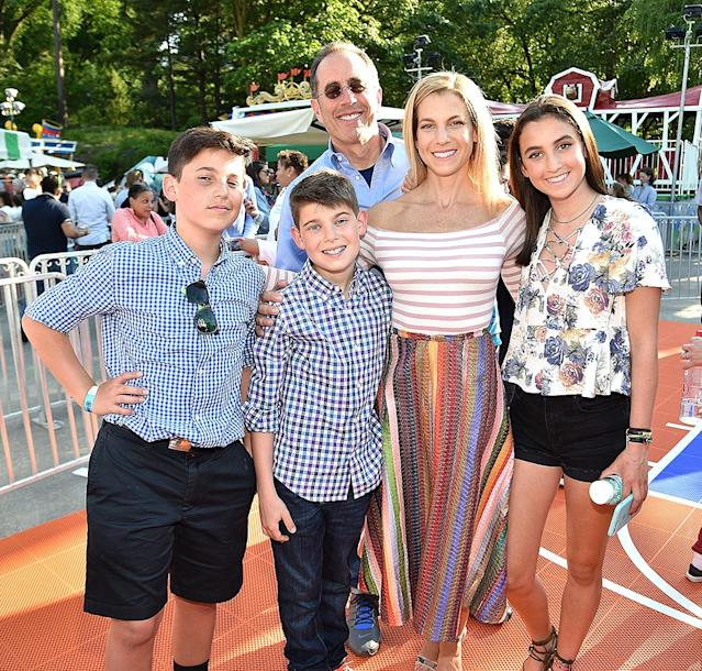 """<p>The funnyman and his family — including wife, Jessica, their daughter, 16-year-old Sascha, and their sons, 14-year-old Julian and Shepherd, 11 — rarely step out together. But they <a href=""""https://www.yahoo.com/celebrity/jerry-seinfeld-family-make-rare-red-carpet-appearance-charity-event-174712087.html"""" data-ylk=""""slk:made an exception"""" class=""""link rapid-noclick-resp"""">made an exception</a> for the Good+ Foundation's 2017 N.Y. Bash in Central Park. Jessica is the founder of the children's charity. (Photo: Photo: Kevin Mazur/Getty Images for GOOD+ Foundation) </p>"""