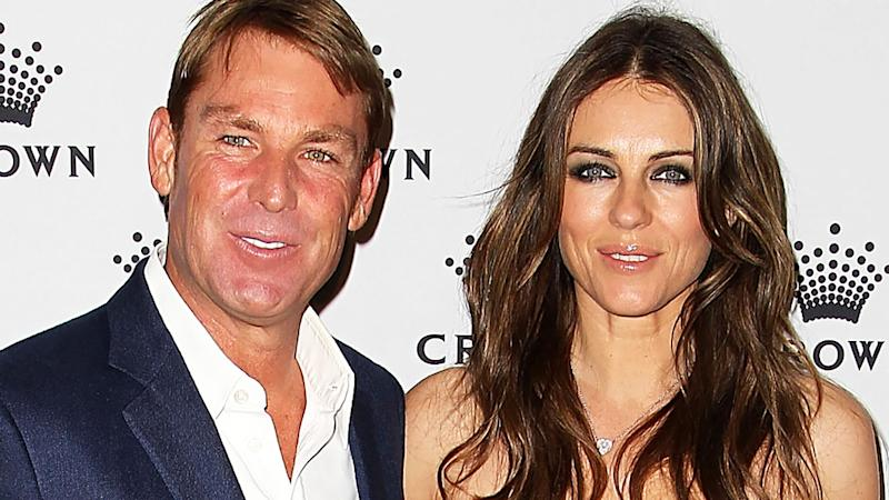Shane Warne and Elizabeth Hurley, pictured here at Crown's IMG Tennis Player's Party in 2013.
