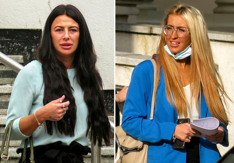 Composite picture of (L-R) Chloe Morris & Kelsey Darby.  After being thrown out of a pub for hurling abuse at a love rival, vengeful Chloe Morris waited outside to launch a vicious attack with the heel of her stiletto shoe.  See SWNS story SWMDstilettos.  And when the victim's friend tried to intervene, she was brutally set on by Morris, using her other stiletto, and accomplice Kelsey Darby, who kneed and kicked her.  But both women have escaped being jailed after a judge expressed his 'regret' that, despite being arrested on the night, the police did not charge them until more than a year later.  The two of them pleaded guilty at Warwick Crown Court to wounding the second victim, Jodie Westwood, while Morris also admitted her initial assault on Jessica Earp.  Morris (24) of Leyland Road, Nuneaton, was given a two-year prison sentence suspended for two years and was ordered to do 150 hours of unpaid work and to take part in a rehabilitation programme for 30 days.  Darby (24) of Red Deeps, Nuneaton, was sentenced to 20 months suspended for 18 months, with 120 hours of unpaid work.  They were both made subject to electronically-tagged curfews for three months from 7pm to 6am on Thursday, Friday, Saturday and Sunday nights and ordered to each pay Miss Westwood £200 compensation, and for Morris to pay £100 to Miss Earp.