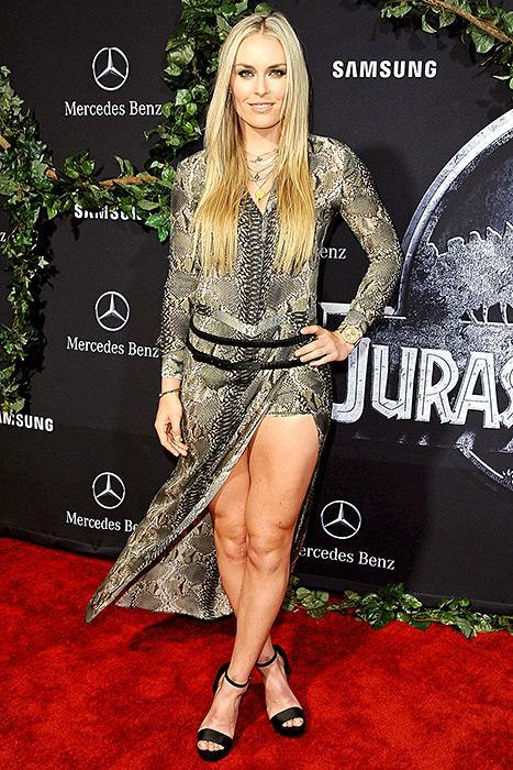Lindsey Vonn Works Her Toned Body in Reptilian Dress at Jurassic World Premiere: See the Photos!