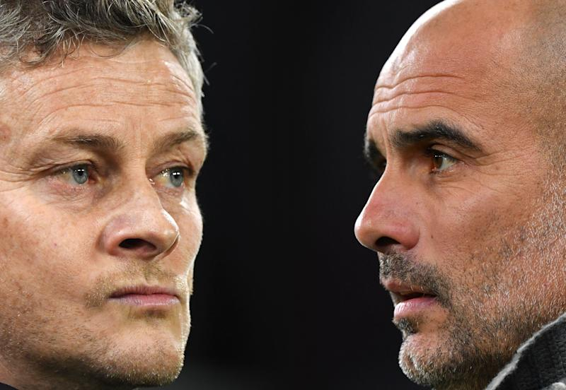 FILE PHOTO (EDITORS NOTE: COMPOSITE OF IMAGES - Image numbers 1074604018,1141519827 - GRADIENT ADDED) In this composite image a comparison has been made between Ole Gunnar Solskjaer, Manager of Manchester United (L) and Josep Guardiola, Manager of Manchester City. Manchester United and Manchester City meet in a Premier League fixture on April, 24, 2019 at Old Trafford in Manchester. ***LEFT IMAGE*** CARDIFF, WALES - DECEMBER 22: Ole Gunnar Solskjaer, Interim Manager of Manchester United looks on before the Premier League match between Cardiff City and Manchester United at Cardiff City Stadium on December 22, 2018 in Cardiff, United Kingdom. (Photo by Stu Forster/Getty Images) ***RIGHT IMAGE*** LONDON, ENGLAND - APRIL 09: Josep Guardiola, Manager of Manchester City looks on prior to the UEFA Champions League Quarter Final first leg match between Tottenham Hotspur and Manchester City at Tottenham Hotspur Stadium on April 09, 2019 in London, England. (Photo by Dan Mullan/Getty Images)