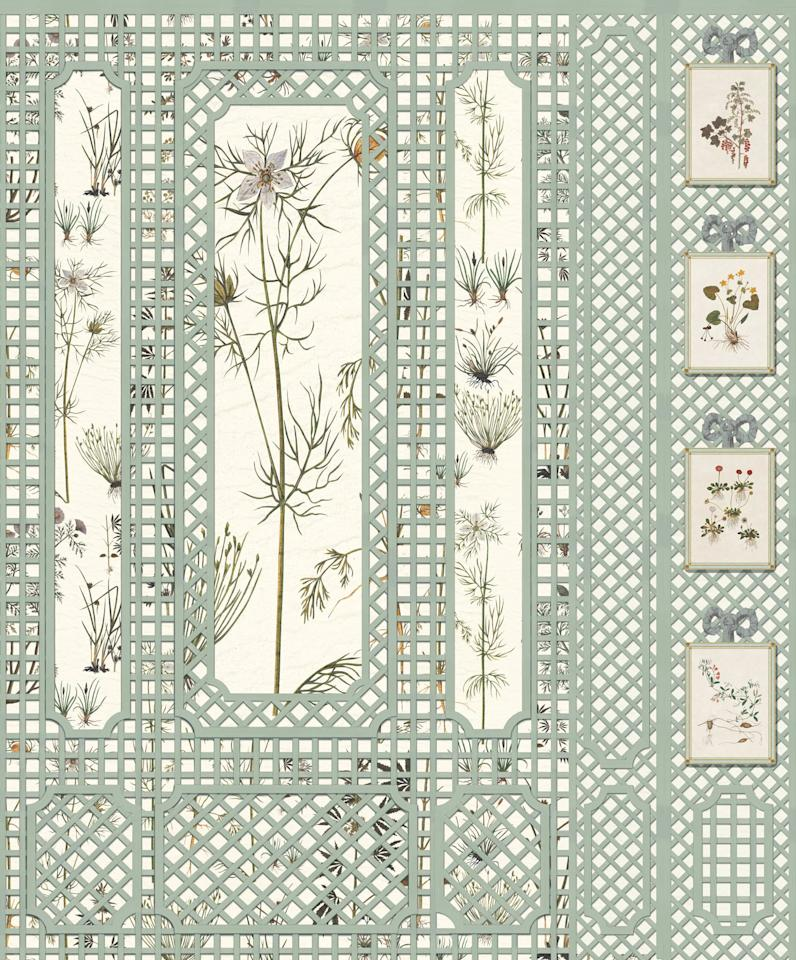 """I would love to get lost in <a rel=""""nofollow"""" href=""""http://www.iksel.com/index.html"""">Iksel's</a> new French Trellis Herbier scenic wall covering. How beautiful would this look in an entryway? I can already smell the flowers!"""