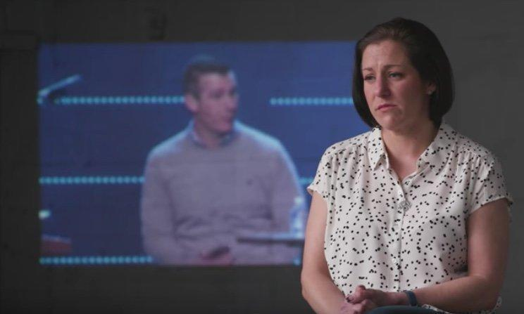 Jules Woodson is filmed in an op-ed video by The New York Times reacting to an apology issued by Andy Savage.