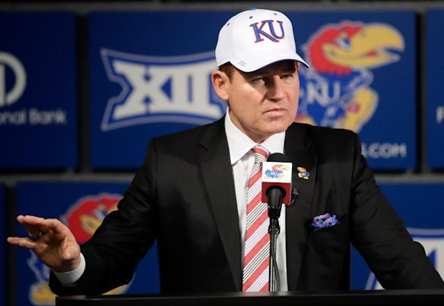 Les Miles is trying desperately to change the culture of Kansas football. He has pounded the pavement in recruiting, established relationships with influential boosters and generated newfound excitement in the Jayhawks. (AP Photo/Orlin Wagner, File)