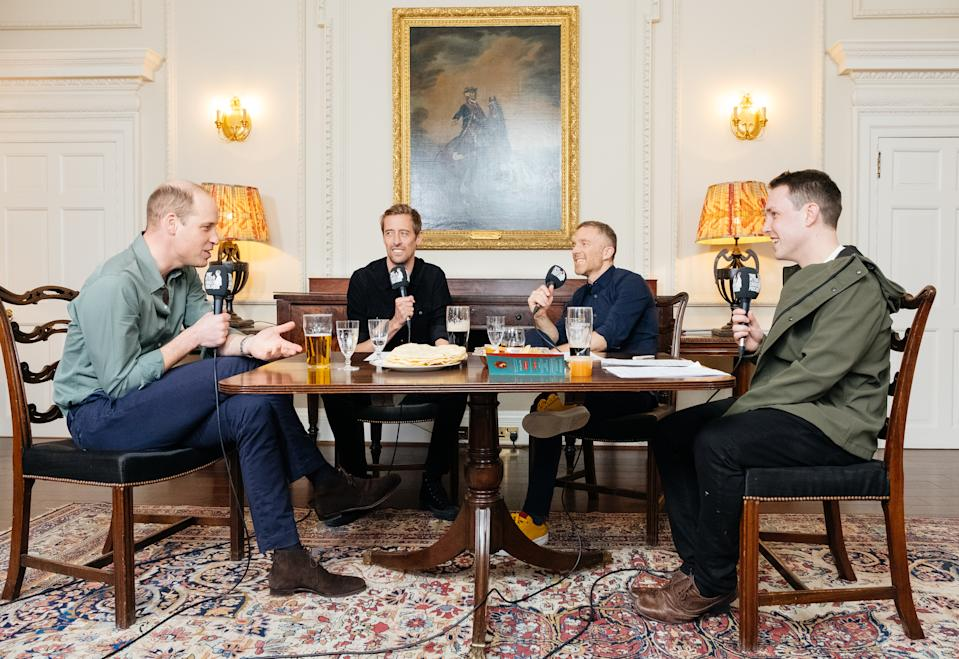 Undated handout photo issued by Kensington Palace of (left to right) the Duke of Cambridge, Peter Crouch, Tom Fordyce and Chris Stark during the first part of a recording of an episode of BBC Radio Five Live's That Peter Crouch Podcast in March. William has joked about warding off a schoolboy football opponent by getting a protection officer to pose as a mock sniper.