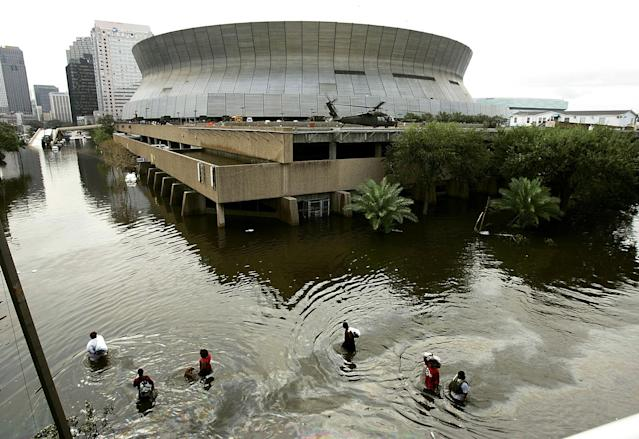 <p>After Katrina brought destruction to the New Orleans area, the Saints had to move their remaining home games to the Alamodome and LSU's Tiger Stadium. </p>
