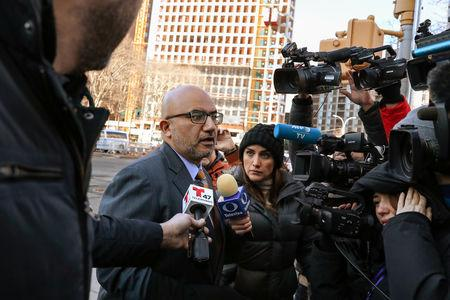 """Attorney for Joaquin Guzman, the Mexican drug lord known as """"El Chapo"""", Eduardo Balarezo arrives at the Brooklyn Federal Courthouse, for the trial of Guzman in the Brooklyn borough of New York, U.S., February 6, 2019.  REUTERS/Brendan McDermid"""