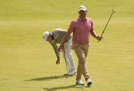 South Africa's Daniel Van Tonder reacts after a birdie putt on the 18th green during the second round of the British Open Golf Championship at Royal St George's golf course Sandwich, England, Friday, July 16, 2021. (AP Photo/Alastair Grant)