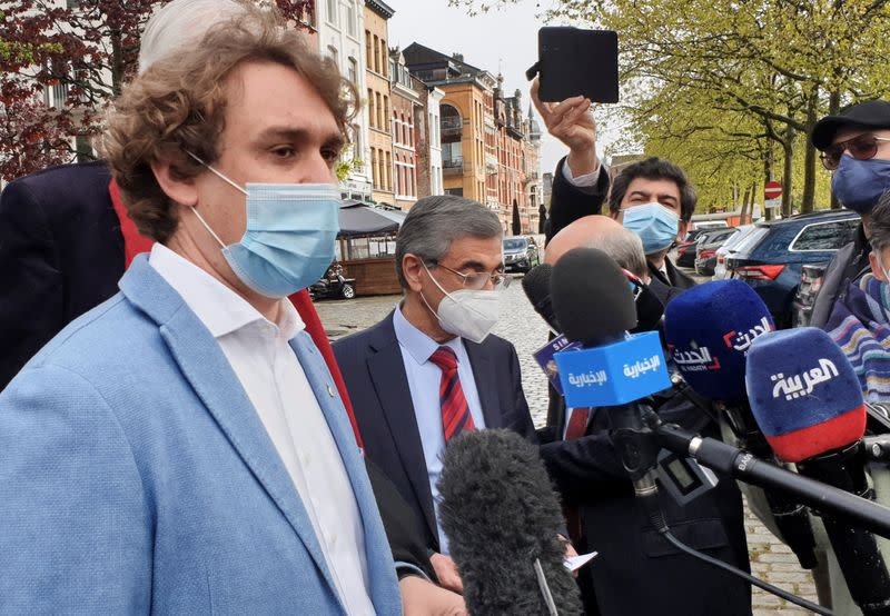 Lawyer Rik Vanreusel, representing The National Council Of Resistance Of Iran (NCRI), speaks to the media outside a court building in Antwerp