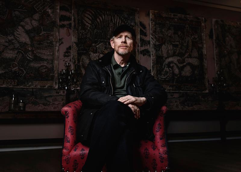 """This April 30, 2019 photo shows filmmaker Ron Howard posing for a portrait in New York to promote his documentary """"Pavarotti."""" Howard hopes his new documentary about opera icon Luciano Pavarotti will introduce the singer to a young generation that never got to hear him before his death in 2007. The film opens nationwide on June 7. (Photo by Christopher Smith/Invision/AP)"""