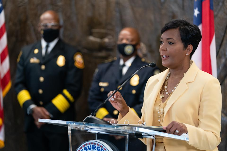 Atlanta Mayor Keisha Lance Bottoms announces that she will not seek reelection at a press conference at City Hall on May 7, 2021 in Atlanta, Georgia. (Photo by Elijah Nouvelage/Getty Images)