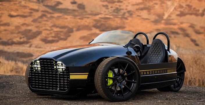 Vanderhall makes motorized tricycles: three-wheelers surrounded by lightweight retro-styled bodies. They are a blast to drive. This latest one is battery powered, can scoot from zero to 60 m.p.h. in 4.4 seconds, and can travel 200 miles on a charge.