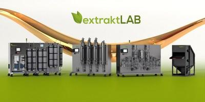 extraktLAB's four new products critical to oil manufacturing, L to R: E-180, fracTRON, clearSTILL and the shuckNbuck.