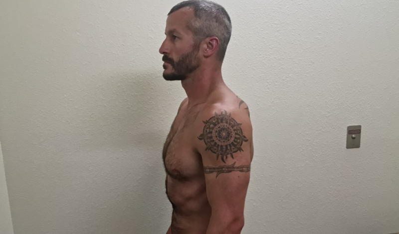 Chris Watts is pictured shirtless in jail.