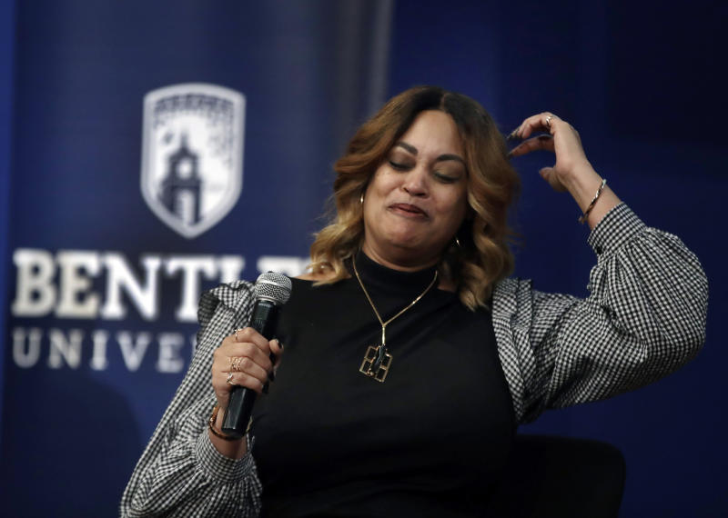 "In this March 5, 2019 photo, panel member Natalie Baucum speaks during an event at Bentley University, in Waltham, Mass., where professors and alumni shared some of their worst setbacks to illustrate that even successful people sometimes fail. A growing number of U.S. colleges are trying to ""normalize"" failure for a generation of students who increasingly struggle with stress, anxiety and the ability to bounce back from adversity. (AP Photo/Elise Amendola)"