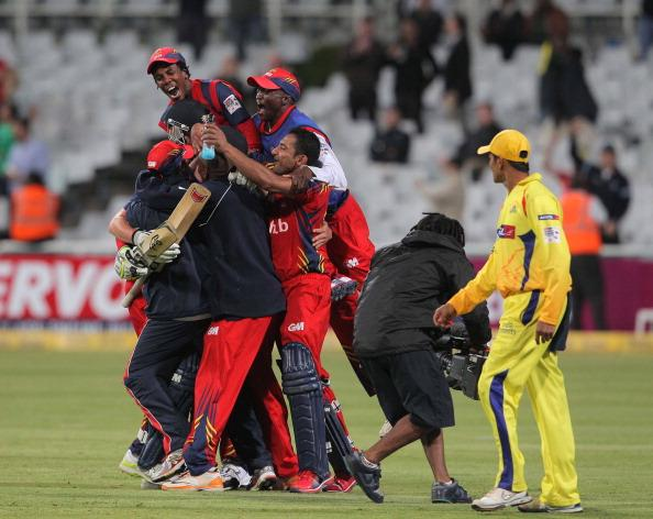 CAPE TOWN, SOUTH AFRCA - OCTOBER 16:  Highveld Lions players celebrate2 their win during the Karbonn Smart CLT20 match between Chennai Super Kings (IPL) and Highveld Lions (South Africa) at Sahara Park Newlands on October 16, 2012 in Cape Town, South Africa.  (Photo by Carl Fourie/Gallo Images/Getty Images)