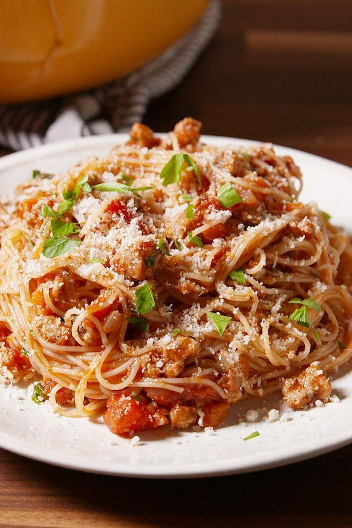 "<p>Bring out your inner Italian grandma and make the (lighter) bolognese of your dreams.</p><p>Get the recipe from <a href=""https://www.delish.com/cooking/recipe-ideas/recipes/a50639/ground-turkey-bolognese-recipe/"" rel=""nofollow noopener"" target=""_blank"" data-ylk=""slk:Delish"" class=""link rapid-noclick-resp"">Delish</a>.</p>"