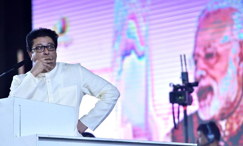 MNS chief Raj Thackeray showing PM Modi's video clip during a rally in the run-up to 2019 Lok Sabha election (Photo: Getty Images)