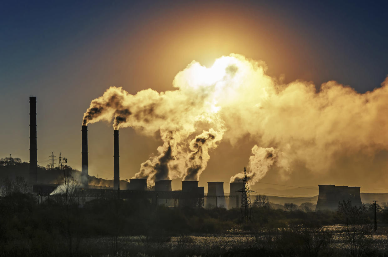 Factory pipe polluting air, environmental problems, ecology theme