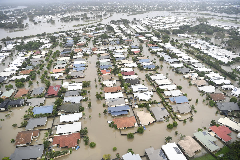A aerial view of the flooded area of Townsville on Monday. Source; AAP