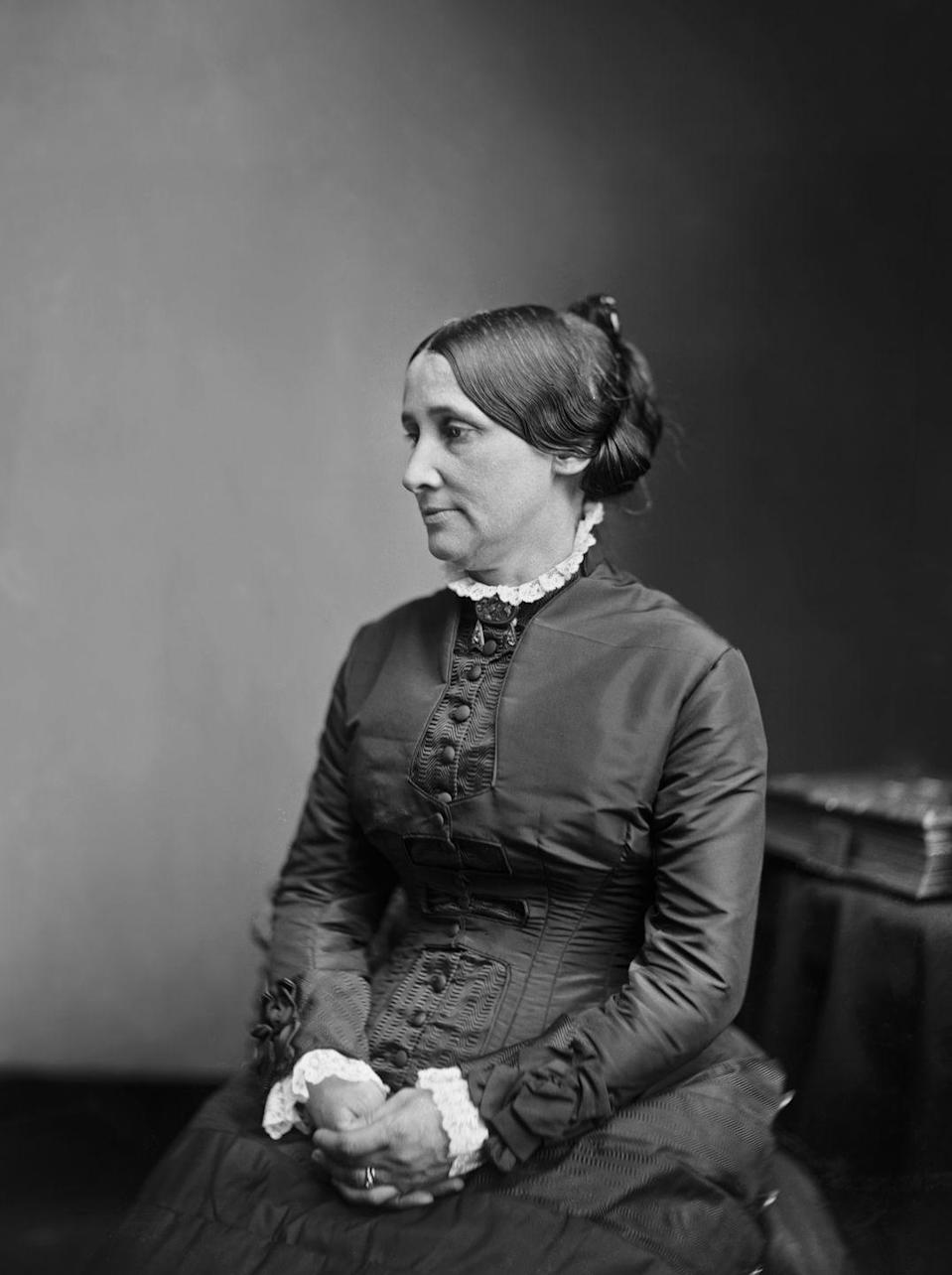 "<p>Sticking to the modest clothing trends of the time, Lucy Webb Hayes usually wore <a href=""https://americanhistory.si.edu/firstladies-interactive/the-fashionable-first-lady-text.html"" rel=""nofollow noopener"" target=""_blank"" data-ylk=""slk:modest embroidered dresses"" class=""link rapid-noclick-resp"">modest embroidered dresses</a> in soft colors that covered her throat and arms. </p>"