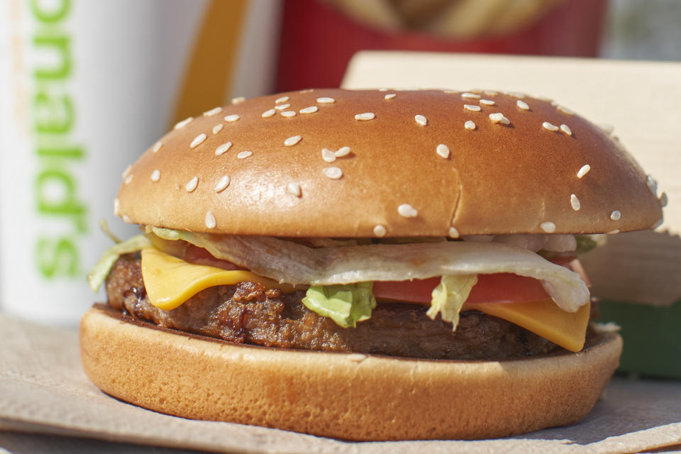 McDonalds new P.L.T. plant based burger is photographed outside of one of the companys test locations in London, Ontario on September 30, 2019. - The company is testing the new burger in 28 stores in Southern Ontario for the next 12 weeks. (Photo by Geoff Robins / AFP)        (Photo credit should read GEOFF ROBINS/AFP via Getty Images)