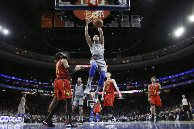 """Ben Simmons thought the 76ers were just too """"soft"""" on Friday night in their loss to the Atlanta Hawks. (AP/Matt Slocum)"""