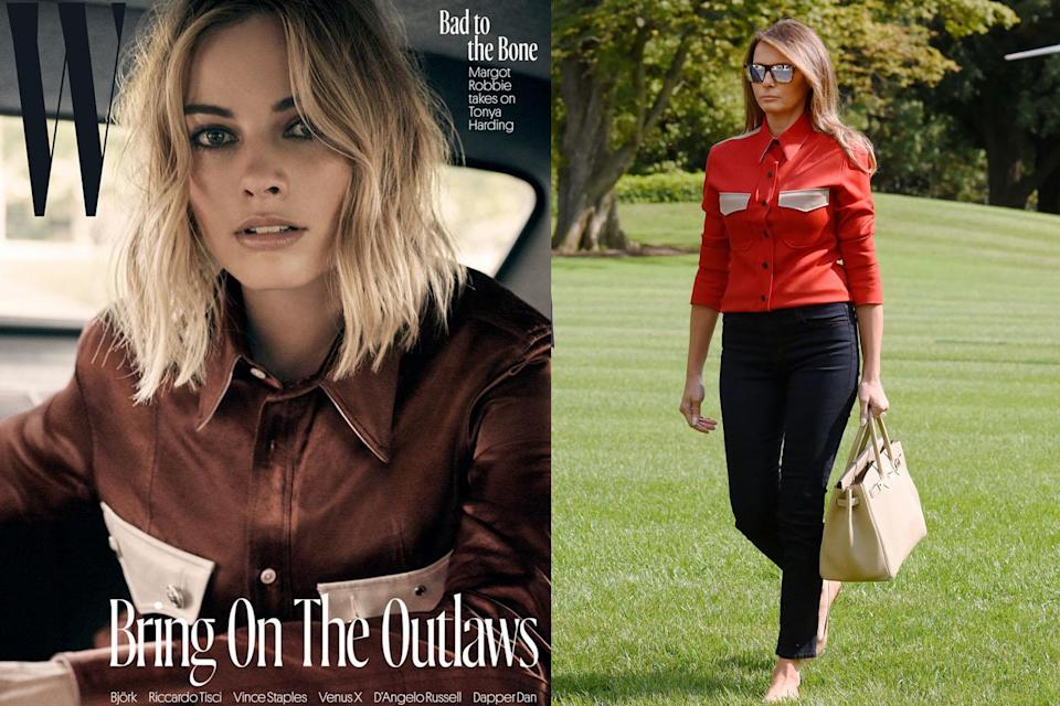Both Margot Robbie and Melania Trump are fans of this Calvin Klein shirt. (Photo: W Magazine/Getty Images)