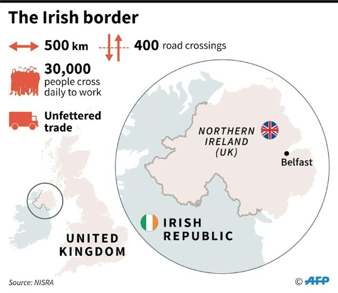 Map of Northern Ireland and the border with the Irish Republic. (AFP Photo/)