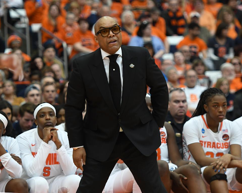 SYRACUSE, NY - MARCH 23: Syracuse Orange Head Coach Quentin Hillsman looks on from the sidelines during the second half of the game between the Fordham Rams and the Syracuse Orange on March 23, 2019, at the Carrier Dome in Syracuse, NY. (Photo by Gregory Fisher/Icon Sportswire via Getty Images)