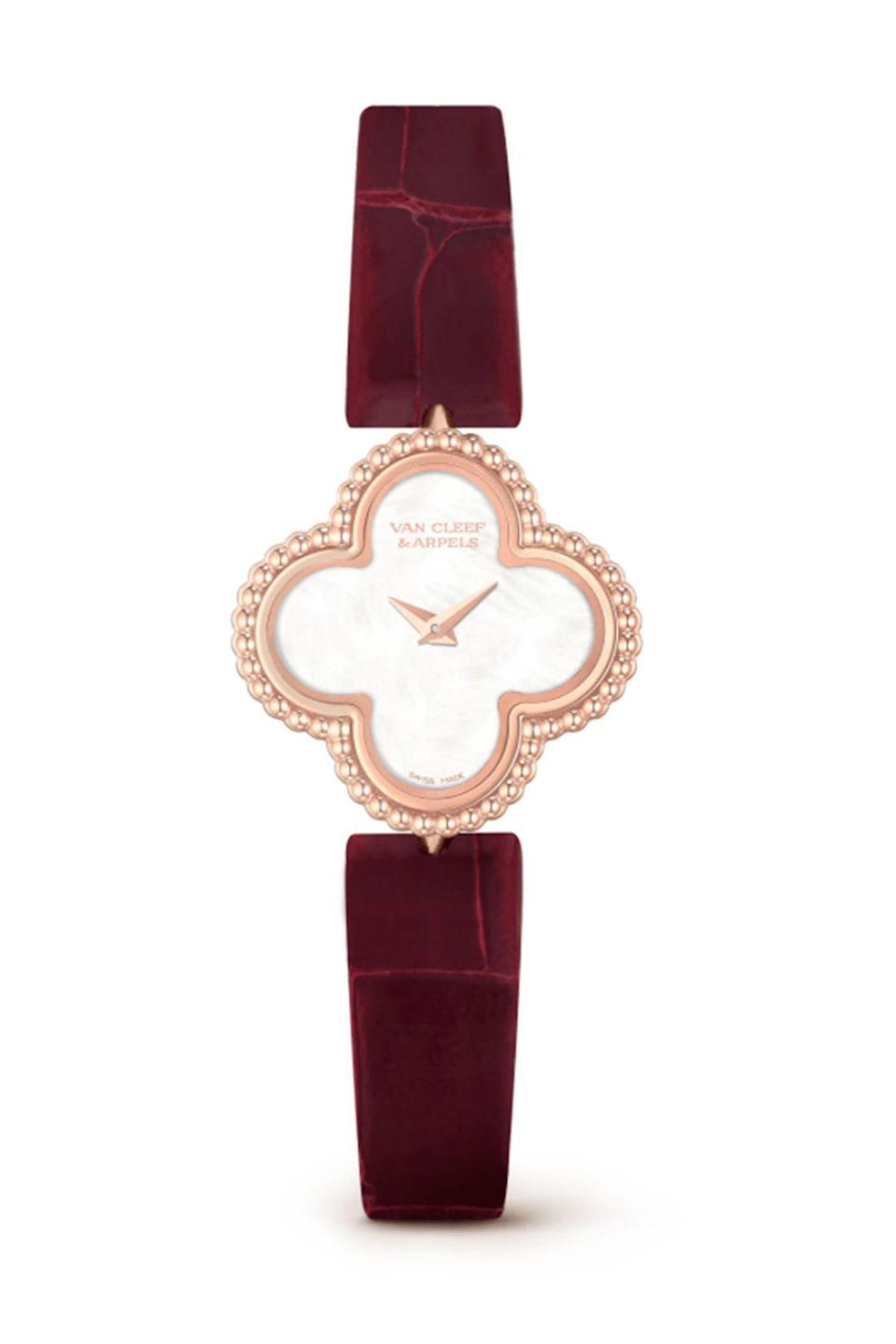 """<p><strong>Van Cleef & Arpels</strong></p><p>vancleefarpels.com</p><p><strong>$7150.00</strong></p><p><a href=""""https://go.redirectingat.com?id=74968X1596630&url=https%3A%2F%2Fwww.vancleefarpels.com%2Fus%2Fen%2Fcollections%2Fwatches%2Falhambra-watches%2Fvcaro8sf00---sweet-alhambra-watch.html&sref=https%3A%2F%2Fwww.townandcountrymag.com%2Fstyle%2Fjewelry-and-watches%2Fg36186288%2Fbest-rose-gold-watches-women%2F"""" rel=""""nofollow noopener"""" target=""""_blank"""" data-ylk=""""slk:Shop Now"""" class=""""link rapid-noclick-resp"""">Shop Now</a></p><p>The Van Cleef & Arpels Alhambra in classic watch form... what more could you ask for?</p>"""