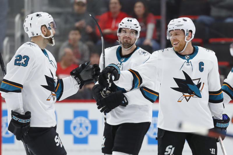check out df9b4 09b62 Pavelski has hat trick in Sharks  5-3 win over Red Wings