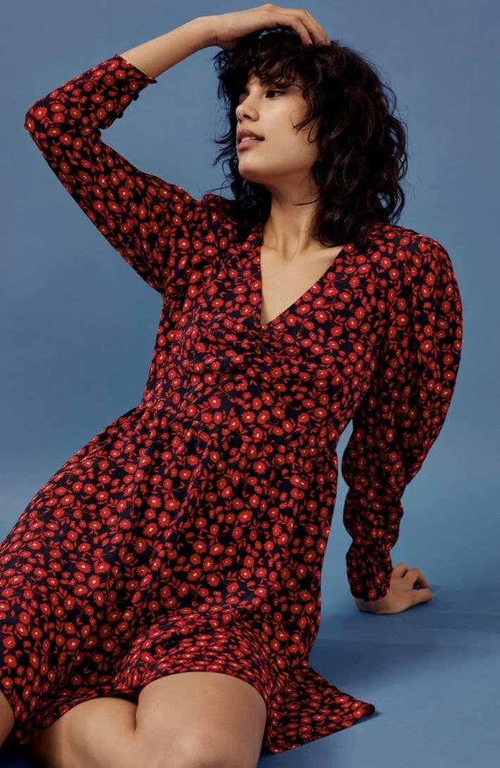 <p>This <span>Topshop Floral V-Neck Long Sleeve Minidress</span> ($30, originally $68) is a sweet option for Valentine's Day (or any day really).</p>