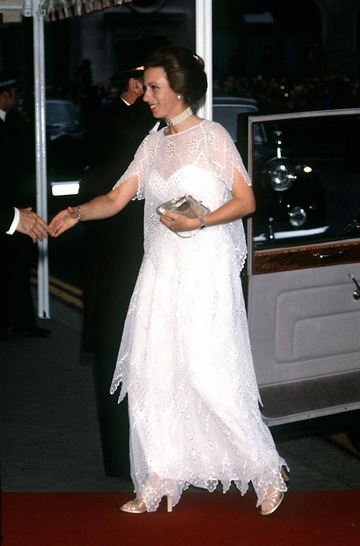 <p>The Princess Royal wore a white dress with an embroidered overlay to an event at the Royal Opera House in London. </p>
