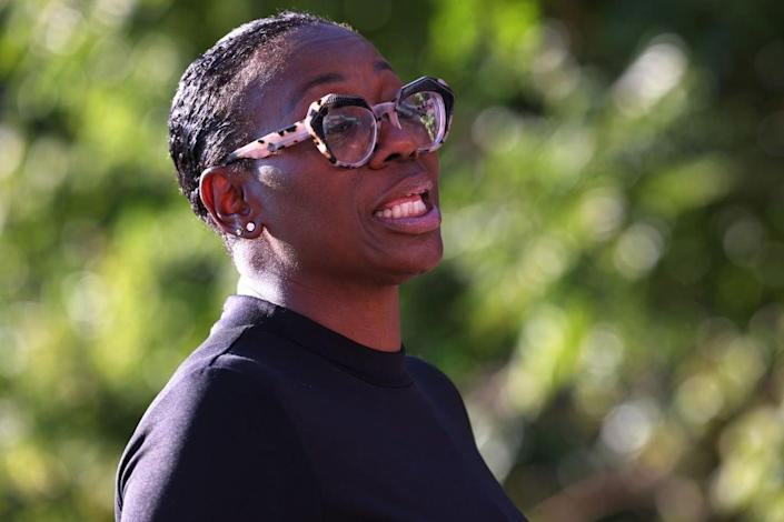 Nina Turner speaks during a 'Get Out the Vote' canvassing event in Ohio (Getty Images)