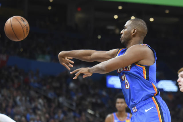 Oklahoma City Thunder guard Paul George passes the ball in the second half of an NBA basketball game against Atlanta Hawks, Friday, Jan. 24, 2020 in Oklahoma City. (AP Photo/Kyle Phillips)