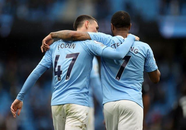 Phil Foden (left) has been preferred to Sterling in recent European games