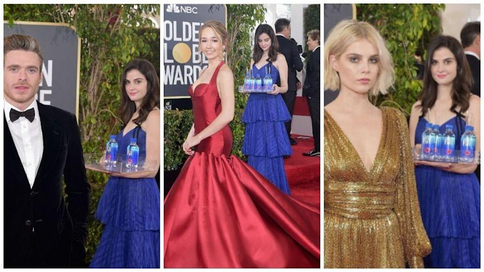 The Fiji Water Woman is watching. (Photos: Getty)