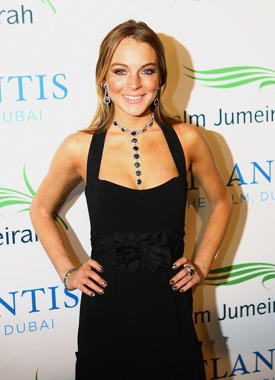 Lindsay Lohan poses at an event