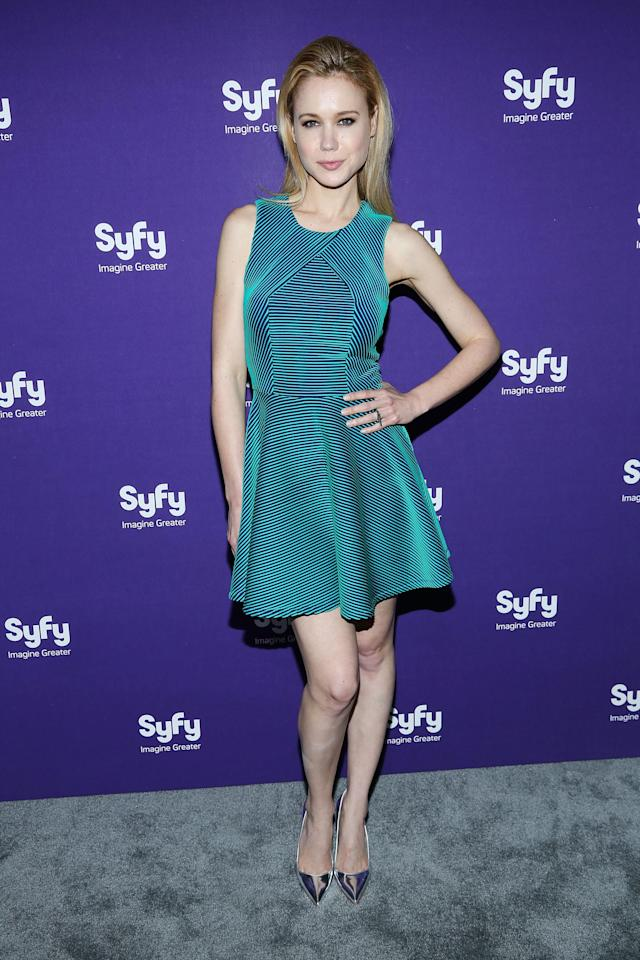 """NEW YORK, NY - APRIL 10: Kristen Hager of """"Being Human"""" attends Syfy 2013 Upfront at Silver Screen Studios at Chelsea Piers on April 10, 2013 in New York City. (Photo by Rob Kim/Getty Images)"""