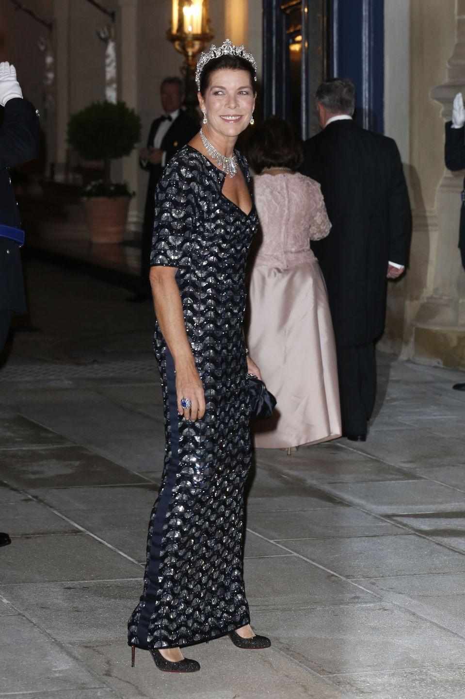 <p>Princess Caroline wore her grandmother's Cartier Pearl Drop Tiara and Diamond Fringe necklace in 2012 for the wedding celebrations of Luxembourg's Prince Guillaume and Stephanie de Lannoy.</p>