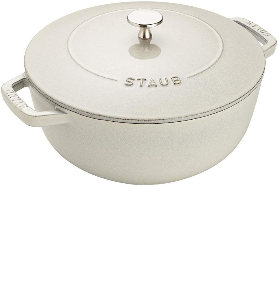 """<p><strong>Staub</strong></p><p>amazon.com</p><p><strong>$199.95</strong></p><p><a href=""""https://www.amazon.com/dp/B07XGC9P4T?tag=syn-yahoo-20&ascsubtag=%5Bartid%7C10054.g.26887058%5Bsrc%7Cyahoo-us"""" rel=""""nofollow noopener"""" target=""""_blank"""" data-ylk=""""slk:Buy"""" class=""""link rapid-noclick-resp"""">Buy</a></p><p>When mom's the type for home-cooked <em>everything, </em>she needs a Dutch oven that'll do her recipes proud. Staub makes that Dutch oven, in a variety of colors and sizes, from the longest lasting materials. </p>"""