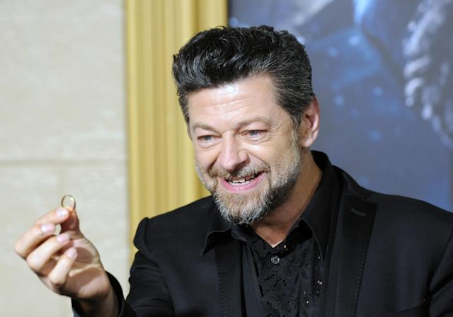 """Andy Serkis arrives for the premiere of """"The Hobbit: The Battle Of The Five Armies"""" on December 9, 2014. (Photo by Albert L. Ortega/Getty Images)"""