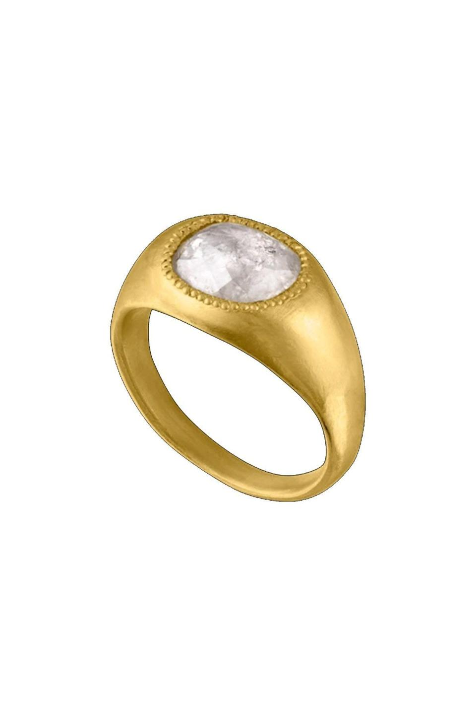 """<p><strong>Prounis</strong></p><p>prounisjewelry.com</p><p><a href=""""https://www.prounisjewelry.com/collections/rings/products/diamond-roz-ring"""" rel=""""nofollow noopener"""" target=""""_blank"""" data-ylk=""""slk:Shop Now"""" class=""""link rapid-noclick-resp"""">Shop Now</a></p><p>Prounis's goldsmithing is shown off with a gypsy-set ring featuring her signature granulation.</p>"""
