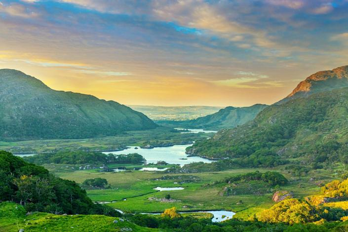 Landscape in Ireland along the Ring of Kerry in Killarney National Park.